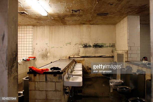 The bathroom used by inmates housed in a gymnasium is photographed at California Institution for Men in Chino May 2011