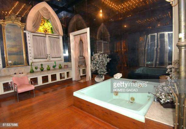 The bathroom with jacuzzi of the former first lady Imelda Marcos at the Santo Nino shrine 13 October 2004 that was sequestered by the government....