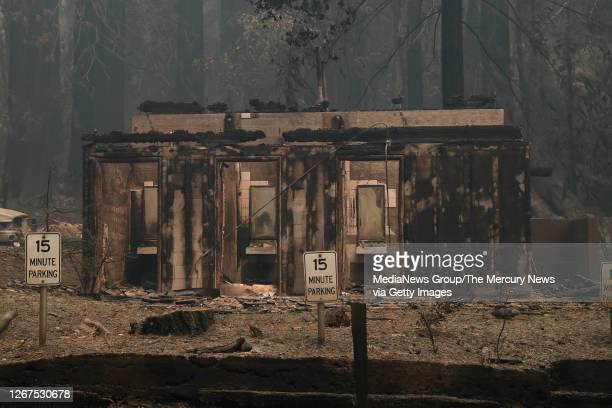 The bathrooms at the Big Basin Redwoods State Park Headquarters & Visitor Center are burned during a blaze in Boulder Creek, Calif., on Thursday,...
