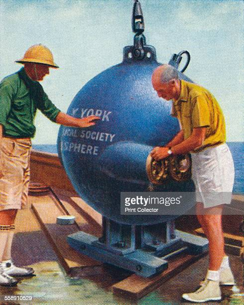The Bathysphere 1938 A deep sea submersible invented by Otis Barton for the naturalist William Beebe Churchman's cigarette card from a series titled...