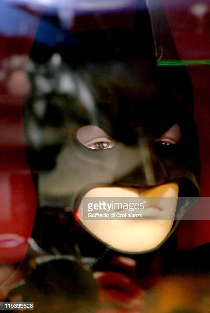 The Batman costume worn by Christian Bale in the Batman Begins is on display at Hamleys of London