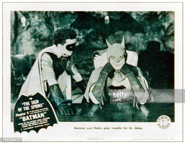 The Batman, lobbycard, from left: Douglas Croft , Lewis Wilson in 'Chapter 9: The Sign of the Sphinx', 1943.
