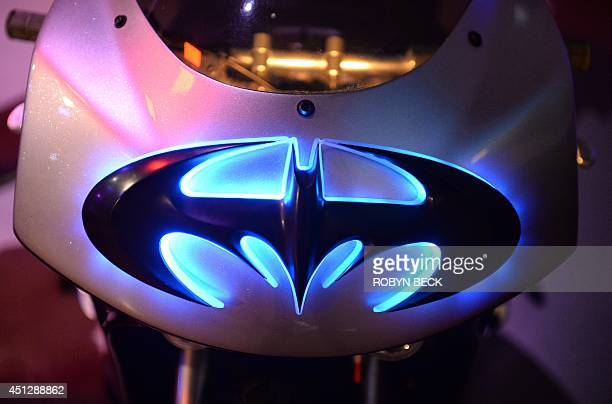 The Batman logo is seen on Batgirls Batblade from Batman Robin at The Batman Exhibit on the exhibitions opening day on the Warner Bros VIP Studio...