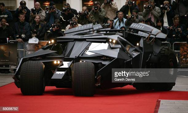 OUT*** The Batmobile arrives at the European premiere of 'Batman Begins' at the Odeon Leicester Square on June 12 2005 in London England