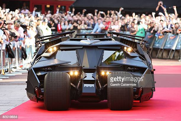 The Batmobile arrives at the UK film premiere of 'The Dark Knight' at Odeon Leicester Square on July 21 2008 in London England