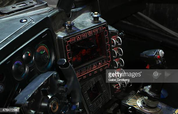 The Batmobile cockpit detail from the upcoming movie 'Batman v Superman Dawn of Justice' is displayed during the Licensing Expo 2015 at the Mandalay...