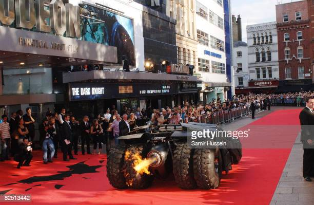 The batmobile drives up the red carpet at the European Premiere of the new Batman film 'The Dark Knight' on July 21 2008 at the Odeon Leicester...