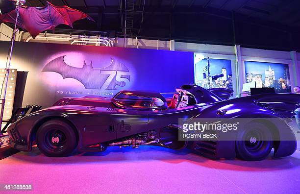 The Batmobile from 'Batman Returns is seen at The Batman Exhibit on the exhibitions opening day on the Warner Bros VIP Studio Tours at the Warner...