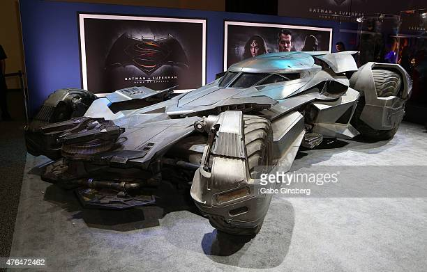The Batmobile from the upcoming movie 'Batman v Superman Dawn of Justice' is displayed during the Licensing Expo 2015 at the Mandalay Bay Convention...