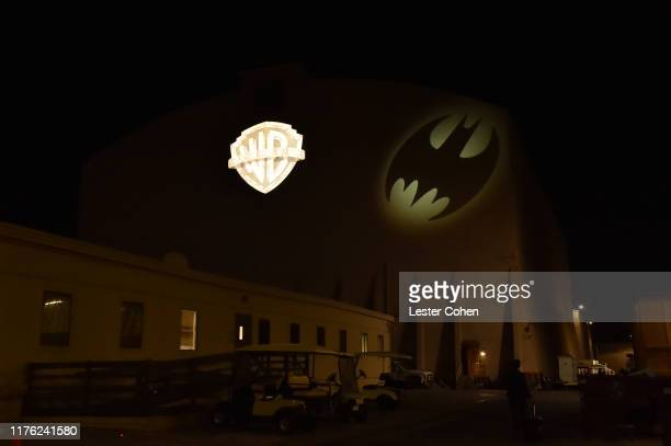 The Bat-Signal illuminated historic Stage 16 at the Warner Bros. Studios Lot in Burbank, California, home of Batman Returns, Batman Forever and...