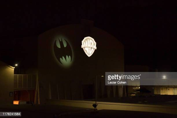 The Bat-Signal illuminated historic Stage 16 at the Warner Bros. Studios Lot in Burbank, California, home of Batman Returns, Batman Forever and...