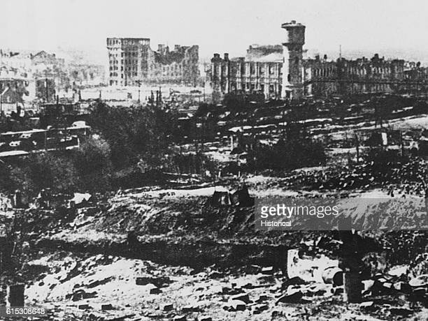 The battered city of Stalingrad as it looked during its siege by German forces in 1942 and 1943 Soviet forces eventually won this important battle of...