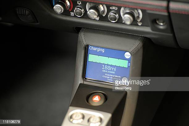 The battery charge indicator of a Tesla Motors Inc Roadster electric sports car is seen in San Jose California US on Thursday June 2 2011 Tesla...