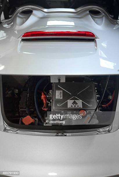 The battery of a GLM Co Tommykaira ZZ electric vehicle is displayed at the company's RD facility in Uji Kyoto Prefecture Japan on Tuesday Aug 12 2014...