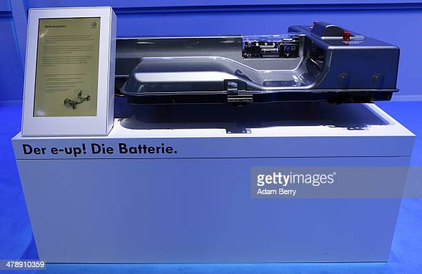 The battery of a Volkswagen e-Up! electric automobile sits on display at the Electric Mobility Week , a public Volkswagen event at the former...