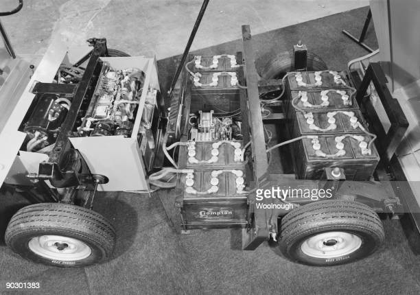The battery unit of the newstyle electric van on display at the International Commercial Motor Show in Earl's Court London October 1970 The car has...