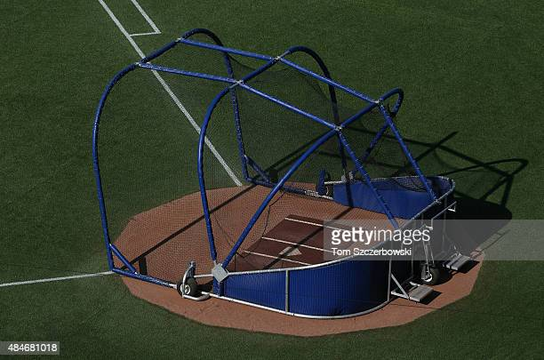 The batting cage on the field after the Toronto Blue Jays took batting practice before the start of MLB game action against the Minnesota Twins on...