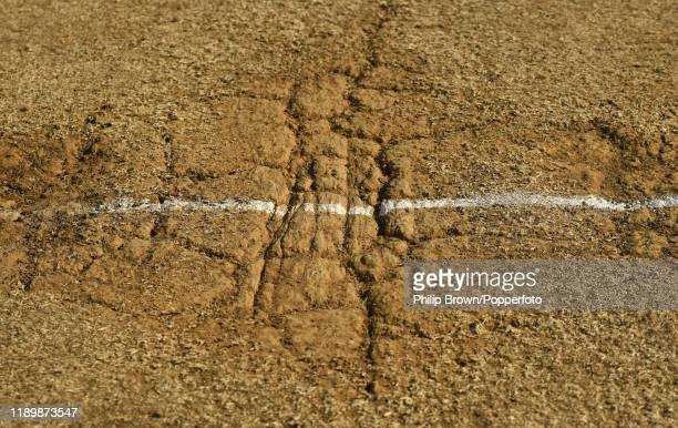 The batting crease at the mountain end shown after the first Test match between New Zealand and England at Bay Oval on November 25, 2019 in Mount...