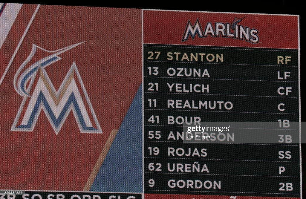 The batting order for the Miami Marlins in their game against the Atlanta Braves is shown in center field with Giancarlo Stanton #27 of the Marlins hitting first at Marlins Park on October 1, 2017 in Miami, Florida. Stanton starts the game with 59 home runs and the change by manager Don Mattingly could give Stanton more at-bats.