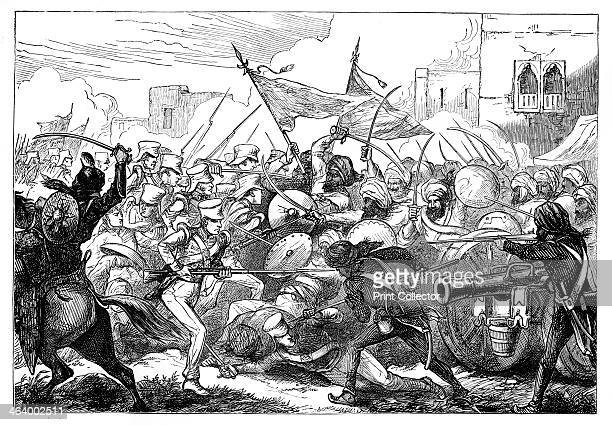 'The Battle at Gujerat' 19th century Scene from the imperialist period showing British and Indian troops fighting Illustration from The Life Times of...