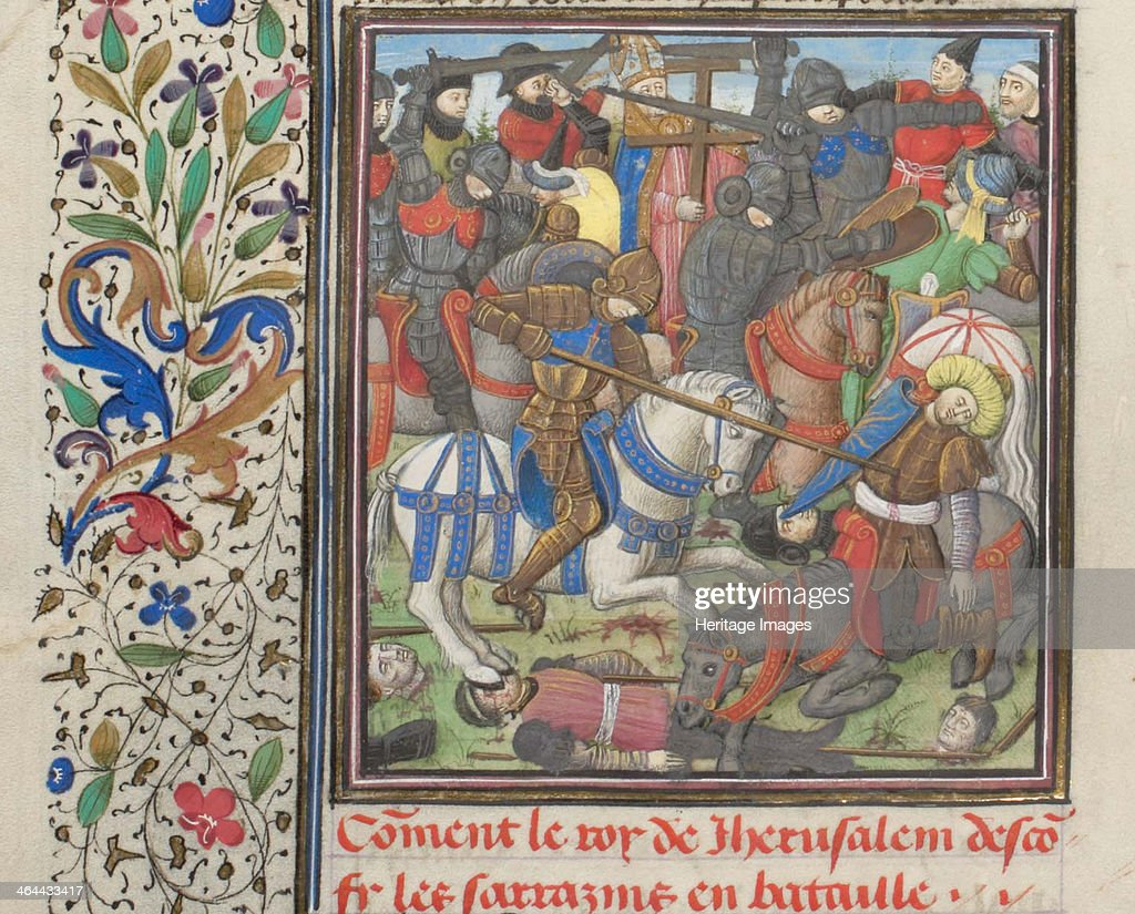 The battle between the Crusaders and Saracens. Miniature from the Historia by William of Tyre, 1460s. Artist: Anonymous : News Photo