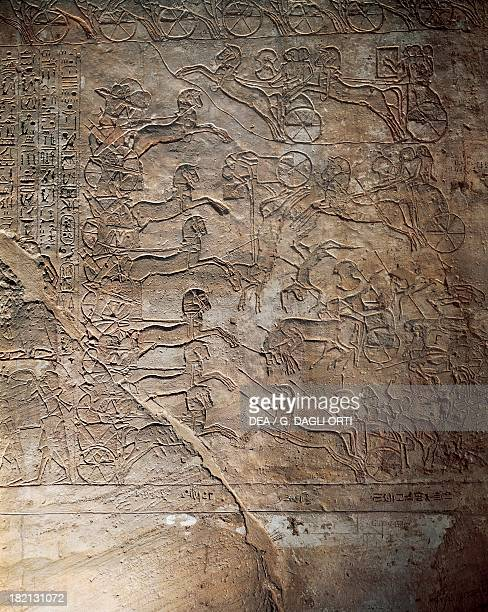 The battle between the Egyptians and the Hittites at Kadesh relief Main Temple of Abu Simbel dating back to the reign of Ramesses II Detail Egyptian...