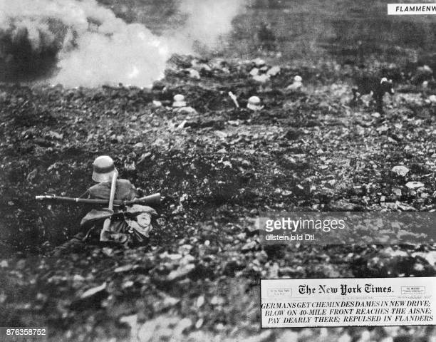 The battle in the area of the Chemin des Dames in the North of France German soldiers fighting in the fire trenches withdrawal to Flanders