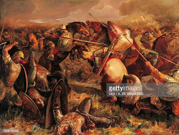 The Battle of Adrianople the Bulgarians under Tsar John II Kalojan defeating the Crusader army of Baldwin I emperor of Constantinople April 14 1205...