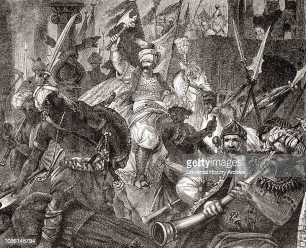 The Battle of AlcÌÁcer Quibir aka Battle of Three Kings or Battle of Oued alMakhazin northern Morocco 4 August 1578 From Ward and Lock's Illustrated...