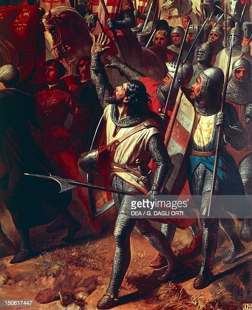 The battle of Ascalon between Godfrey of Bouillon and Al Afdal's Egyptians, detail from a painting by Charles-Philippe Lariviere . Crusades, 11th...