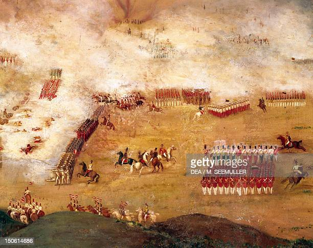 The Battle of Ayacucho December 9 Spanish troops against the liberation army of Santa Cruz Bolivar's lieutenant Peruvian War of Independence Peru...