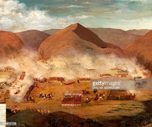 The Battle of Ayacucho on December 9 decisive victory of Santa Cruz and Sucre by the Spanish troops. Peruvian War of Independence, Peru, 19th century.