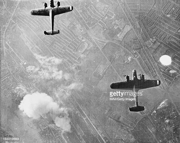 Two Dornier 17 bombers over West Ham London 7 September 1940