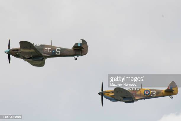 The Battle of Britain Memorial flight performs at RAF Fairford on July 21 2019 in Fairford England The Royal International Air Tattoo is the world's...