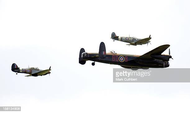 The Battle Of Britain Memorial Flight With The Hurricane And Spitfire Fighters And Lancaster Bomber At The Biggin Hill International Air Fair In Kent.