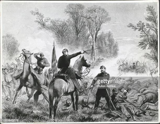 The Battle of Bull Run engraved after the painting by Alonso Chappel
