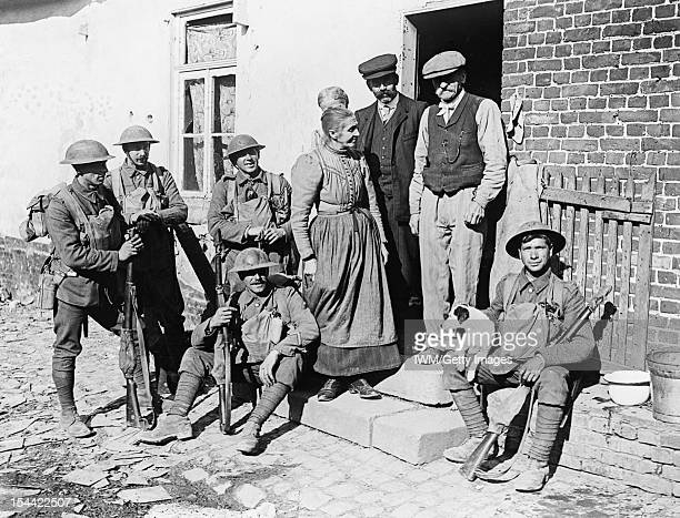 The Battle Of Cambrai French civilians in the village of Brancourt le Grand after its liberation by Allied troops 9 October 1918