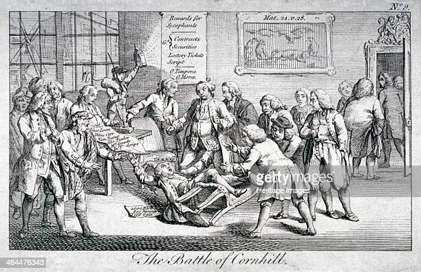 'The Battle of Cornhill' 1769 Interior of room in the King's Arms Inn Cornhill during a meeting to sign an address to King George III Mr Reynolds has...