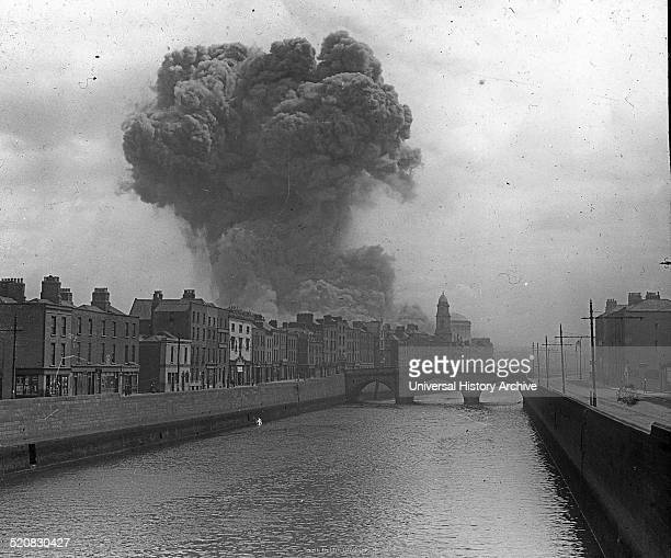 The image shows an Explosion at the Four Courts during the Irish Civil War 1922