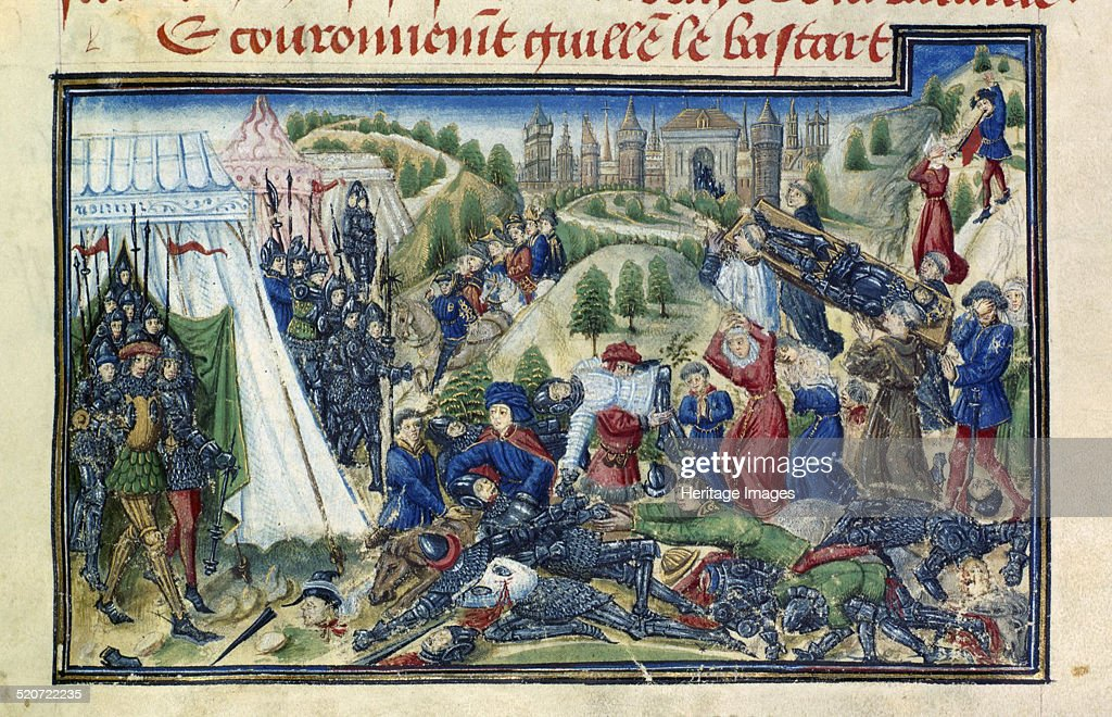 The Battle of Hastings (From the Grande Chronique de Normandie by Yates Thompson). Artist: Anonymous : News Photo