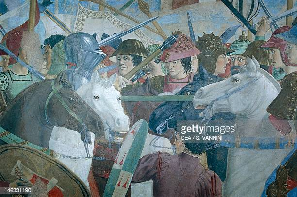 The Battle of Heraclius I of Byzantium against Chosroes II detail from the Legend of the True Cross 14521466 by Piero della Francesca fresco Church...