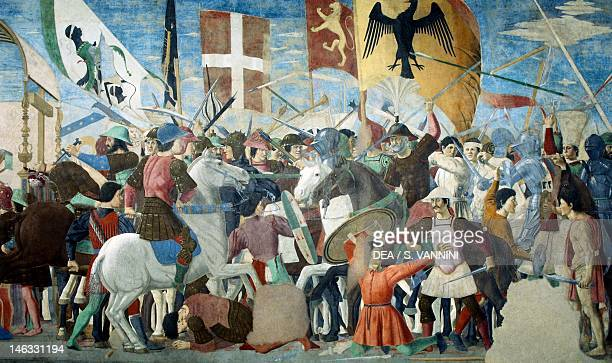 The Battle of Heraclius I of Byzantium against Chosroes II, detail from the Legend of the True Cross, 1452-1466, by Piero della Francesca , fresco....