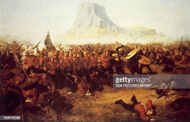 The Battle of Isandhlwana in Natal January 22 by Charles Edwin Fripp oil on canvas AngloZulu War South Africa 19th century