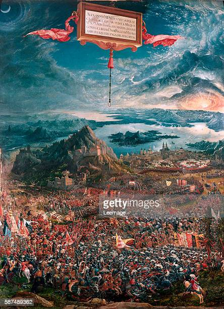 The Battle of Issus between Alexander the Great and Darius III - Painting by Albrecht Altdorfer , oil on wood, 1529 - Alte Pinakothek, Munich
