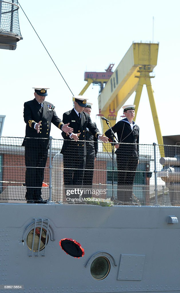 The Battle of Jutland wreath laying ceremony takes place on board HMS Caroline on May 31, 2016 in Belfast, Northern Ireland. HMS Caroline is the last surviving ship from the 1916 Battle of Jutland and today hosted a special all island commemoration service ahead of it's reopening to the public tomorrow after a major restoration project. The Battle of Jutland is remembered as the largest and deadliest naval battle of World War One, where more than 6,000 British and more than 2,500 German personnel lost their lives in the 36-hour Battle off the coast of Denmark.