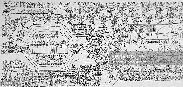 The Battle of Kadesh between the Egyptian Empire under Ramesses II and the Hittite Empire under Muwatalli II at the city of Kadesh on the Orontes...