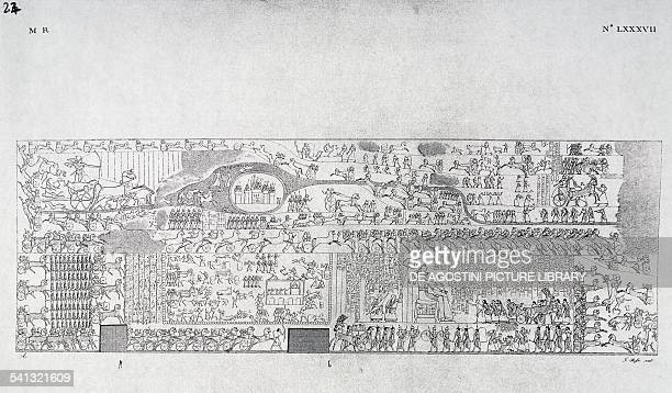 The Battle of Kadesh or Quades between Ramesses II's army and the Hittites relief in the Temple of Abu Simbel Plate LXXXVII by Giuseppe Angelelli...