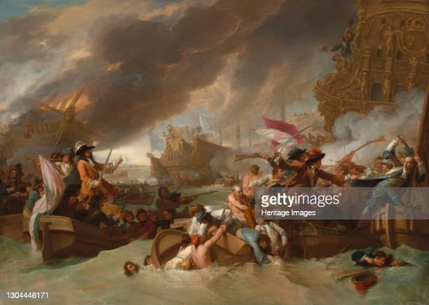 The Battle of La Hogue, 1778. Artist Benjamin West.