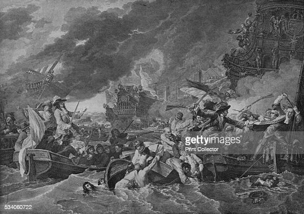 The Battle of La Hogue' from 'Old Naval Prints' by Charles N Robinson Geoffrey Holme 1924 Following the Battle of Barfleur the remaining French fleet...