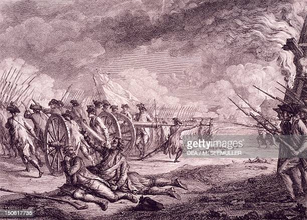 The Battle of Lexington, April 19 by Francois Godefroy , engraving. American War of Independence, the United States, 18th century.